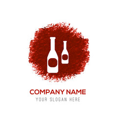 bottles icon - red watercolor circle splash vector image