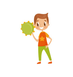 Boy playing tambourine little musician character vector