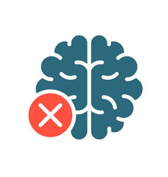 Brain with cross checkmark colored icon diseased vector