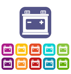 Car battery icons set vector