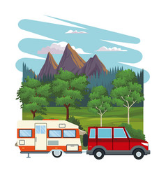 caravan at landscape vector image