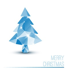 card with abstract blue christmas tree vector image