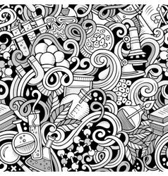 Cartoon hand-drawn science doodles seamless vector image