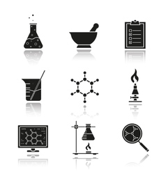 Chemical laboratory equipment icons vector