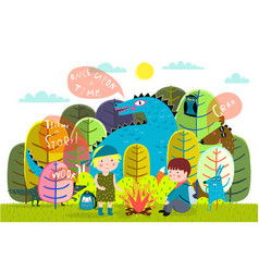 children summer camp fire and storytelling vector image