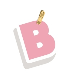 Clothespin holding relive letter B vector