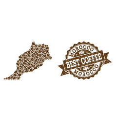 Collage map of morocco with coffee beans and vector