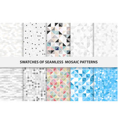 Collection mosaic seamless swatches vector