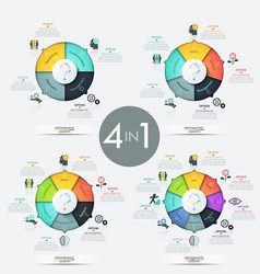 Collection of 4 pie charts with multicolored vector