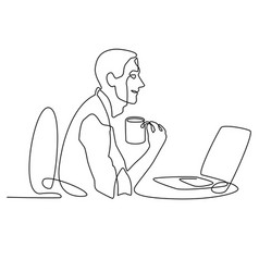 Continuous line drawing of businessman working vector