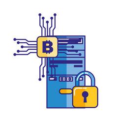 cpu tower security bitcoin trade vector image