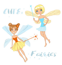 cute cartoon fairies vector image vector image