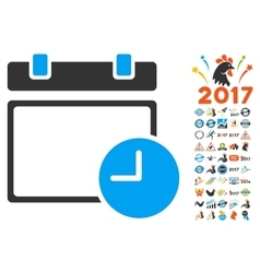Date and time icon with 2017 year bonus symbols vector
