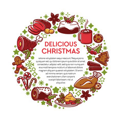 delicious christmas traditional dishes and vector image