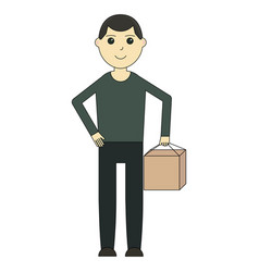 delivery man cartoon character and delivery vector image