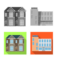 Design of building and front symbol set of vector