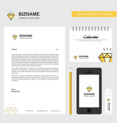 diamond business letterhead calendar 2019 and vector image