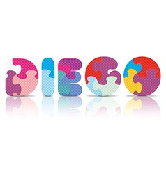 Diego written with alphabet puzzle vector