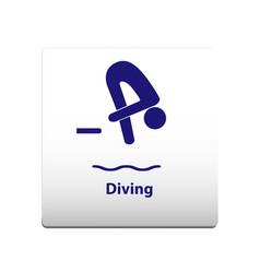 diving sport symbol stickman solid icon vector image