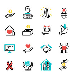 Donate money set outline icons help icon donation vector