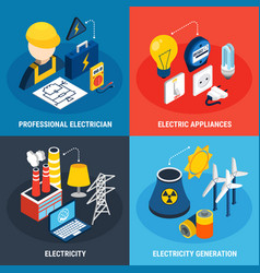 Electricity isometric 3d icon set vector