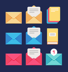 envelope email and letter icons postal vector image