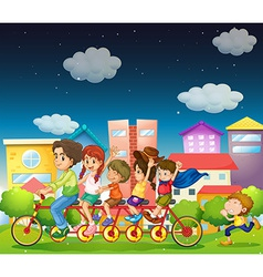Family riding bike vector