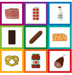 flat icon eating set of beef smoked sausage vector image