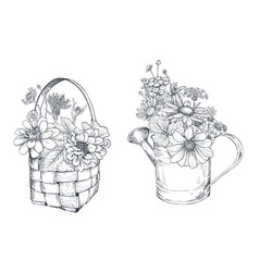 Floral compositions with black and white vector