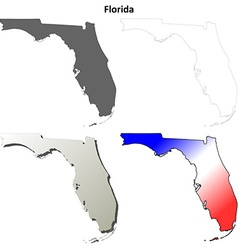 Florida outline map set vector