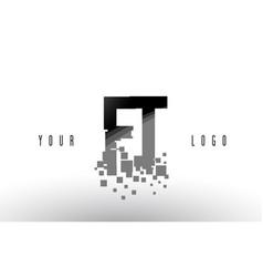 Ft f t pixel letter logo with digital shattered vector