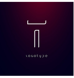 futurism style letter t minimalist type vector image
