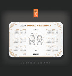 Gemini 2018 year zodiac calendar pocket size vector