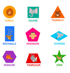 Geometric shapes with cute animal characters vector