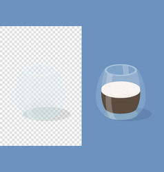 glass coffee cups on transparent and blue vector image