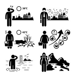 Global warming greenhouse effects stick figure vector