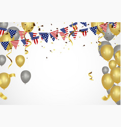 Gold balloons confetti and streamers vector