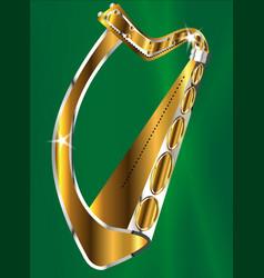 golden irish harp vector image