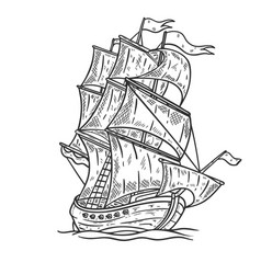 Hand drawn sea ship on white background design vector