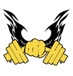 hand with the dumbbell vector image vector image