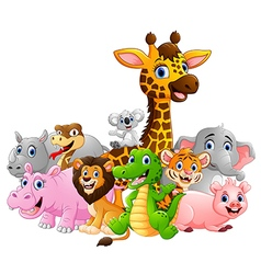 Happy safari animal cartoon vector