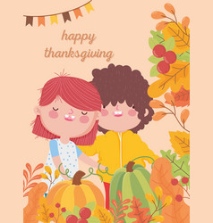 happy thanksgiving day cute boy and girl harvest vector image