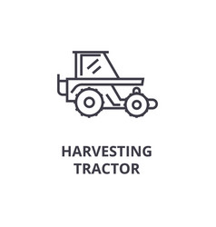 harvesting tractor line icon outline sign linear vector image