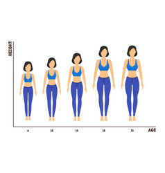 height and age measurement of growth from girl to vector image vector image