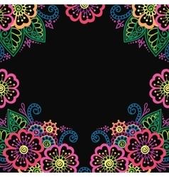 henna flower ornament frame vector image