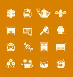 honey apiary icons set vector image