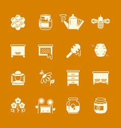 Honey apiary icons set vector