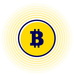 illsutrated trendy flat yellow bitcoin symbol coin vector image