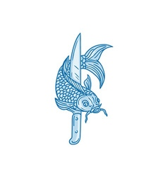 Koi Nishikigoi Carp Fish Knife Drawing vector image
