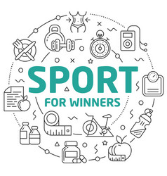 line flat circle sport winners vector image